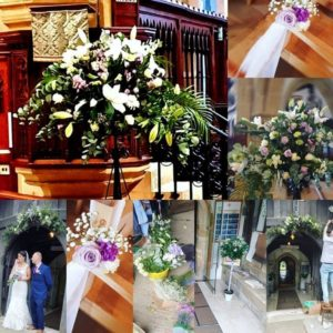 Customer Hilary's pictures of wedding flowers.